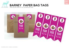 Free Barney DIY Paper Bag Tags -  JustLoveDesign