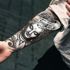 Temporary Men Tattoo Body Art Sticker Waterproof Scar Cover-Buddha Lotus