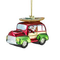 Kurt Adler Noble Gems Beach Wagon With Surfboard Christmas Ornament