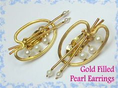1950s Gold Filled & Pearl Painters Palette Earrings ~ Vermont Vintage Estate Treasure - FREE SHIPPING by FindMeTreasures on Etsy