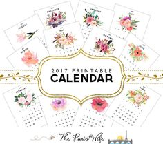 2017 Monthly Printable Calendar Instant Download by TheParisWife