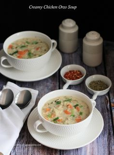 Creamy Chicken Orzo Soup Italian Chicken Soup, Chicken Orzo Soup, Chicken Soup Recipes, Creamy Chicken, Soup And Salad, Soups And Stews, Cooking Recipes, Favorite Recipes, Eat