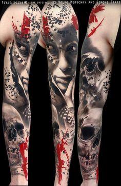 Tattoo Gallery - Trash Polka Tattoos by Volko Merschky & Simone Pfaff Trash Polka Tattoos, Tattoo Trash, Sick Tattoo, Real Tattoo, Buena Vista Tattoo, Tatuagem Trash Polka, Chaos Tattoo, Hirsch Tattoo, Skull Sleeve Tattoos