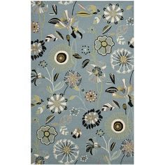 """Safavieh Hand-Hooked Four Seasons Floral Blue/ Multicolored Polyester Rug (3'6"""" x 5'6"""")"""