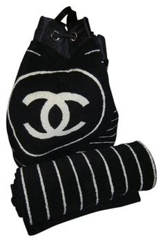 Authentic Chanel Beach Towel with Matching Bag | Chanel beach ...