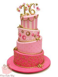 Ashlee's Sweet 16 Birthday Cake by Pink Cake Box in Denville, NJ. Twin Birthday Cakes, Sweet 16 Birthday Cake, 16th Birthday, Mary Birthday, Pink Birthday, Sweet 16 Cupcakes, 16 Cake, Cupcake Cakes, Cupcake Ideas