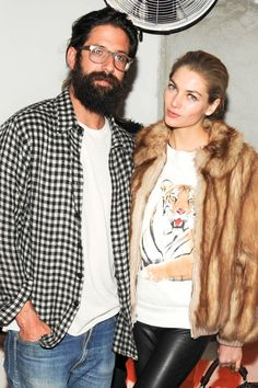 Greg Chait and Jessica Hart at The Elder Stateman Party - Fall 2014 New York Fashion Week Party Pictures - Harper's BAZAAR