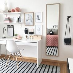 home workspace design inspirations; home office storage ideas for small spaces; home workspace design inspirations; home office storage ideas for small spaces; home office ideas; Built In Dressing Table, Dressing Table Organisation, Dressing Tables, Teenage Room Decor, Teenage Girl Bedrooms, Bedroom Girls, Girl Rooms, Blue Bedroom, Pink And White Bedroom Furniture