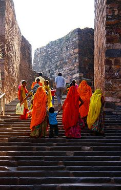 Women on their way up    At the Ranthambhore Fort , India
