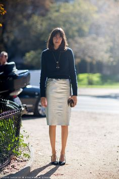 Silver pencil skirt and a sweater | StockholmStreetStyle