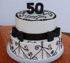 black white 50th birthday cake for women 50th Birthday Cake Ideas