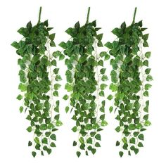 LEFV™ Flocked Ivy Garland 35inch Atificial Fake Faux Scindapsus Leaf Hanging Vine Plant Green Leaves Garland Wedding Home Garden Wall Decoration (3) * Click image for more details.