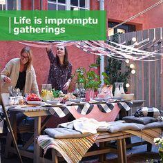 ÄPPLARÖ / HÅLLÖ 4-seat conversation set, outdoor, brown stained, beige - brown stained/beige - IKEA