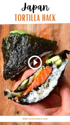 Enjoy this and 20+ other ways of making this tortilla trend – I give lots of tips and suggestions on how to customize, including vegan tortillas, low-carb wraps, dessert options, and more! Sushi Recipes, Seafood Recipes, Asian Recipes, Vegetarian Recipes, Cooking Recipes, Healthy Recipes, Sushi Wrap, Healthy Snacks, Healthy Eating