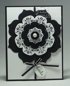 handmade card ... Black and White Medallions by darhm ... like the striking appearance ...  dry embossing on card face too ... pearl center ... Stampin' Up!