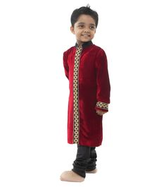Maroon Embroidered #Velvet And #Silk Blend #Sherwani for #kids by #Kidology at #Indianroots