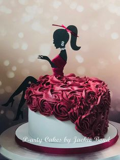 Best 12 Colourful flower cake with a female silhouette – Page 298715387781008374 – SkillOfKing. Beautiful Birthday Cakes, Happy Birthday Cake Topper, Birthday Cakes For Women, Birthday Cake Girls, Girly Cakes, Fancy Cakes, Cake Decorating Designs, Cake Designs, Bolo Glamour
