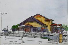 Pasar Awam Taman Universiti, Johor.  #johorsketchers #klsketchnation #architecture #architecturelovers #architectureporn #archidaily #sketching #sketches #drawing #drawingoftheday #panorama #linework #lineart #uniball #uniballpen #pen #pensketches #penske | por Hafizal_Nordin
