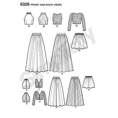 Create endless mix-and-match options for any special event. Misses' SewStylish 2-piece dress pattern offers skirts in two lengths and three different top options. Simplicity sewing pattern.
