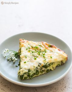 Asparagus Frittata ~ Quick and easy asparagus frittata.  Perfect for spring.  Eggs, Gruyere or Swiss cheese, onion, and asparagus. ~ SimplyRecipes.com