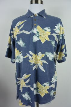 Tommy Bahama L Large Blue Yellow Floral Cotton Polo Hawaiian Shirt Mens #834 #TommyBahama #PoloRugby