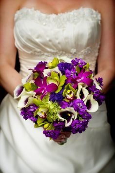 Purple Bridal Bouquet with Calla Lilies and Orchids