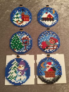 Christmas Ornaments Boules de Noël hama Some Small Hama Beads Design, Diy Perler Beads, Perler Bead Art, Pearler Beads, Pearler Bead Patterns, Perler Patterns, Christmas Perler Beads, Art Perle, Motifs Perler