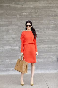 NYFW street style, orange dress...