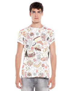 Bershka España - Camiseta estampado comida rápida