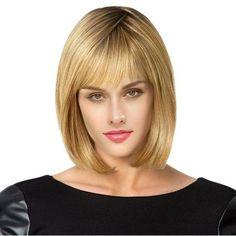 #RoseGal.com - #RoseGal Short See Through Bang Colormix Straight Bob Human Hair Wig - AdoreWe.com