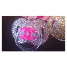 Bling Pacifiers (Binkies) ❤ liked on Polyvore featuring baby