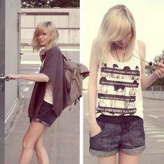 H Shirt, Zara Shorts, Mandarina Duck Backback, Zara Cape