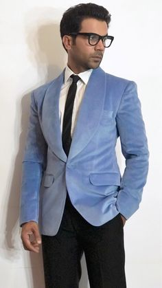 Rajkummar Rao looking slick in a Powder Blue Velvet Jacket and Black Trousers at the Hello Hall of Fame Fashion Guide, Men's Fashion, Blue Trousers, Tuxedo Suit, Mens Style Guide, Velvet Jacket, Men's Suits, Blue Velvet, Bollywood Fashion