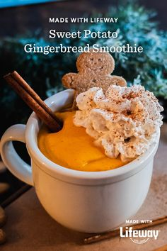It's a blend of sweet potato, ginger, maple syrup, almond butter, and our probiotic vanilla kefir. Cream Soda, Ice Cream, Kefir How To Make, Farmers Cheese, Almond Butter, Gingerbread Man, Original Recipe, Maple Syrup, Recipes