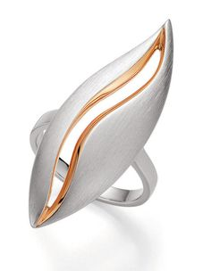 Breuning Jewellery Germany - Sterling Silver Leaf ring with Rhodium plated matt…