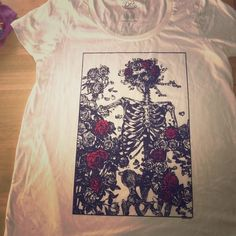 Skeleton & rose T-shirt plus size Plus size t shirts! Skeleton and roses never worn torrid Tops Tees - Short Sleeve