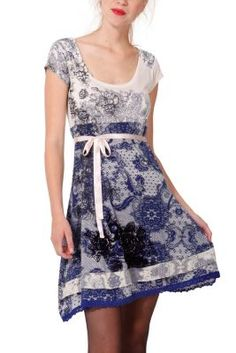 Desigual women's Lanoria Short dress. It has a very romantic lace print and a satin bow around the waist.