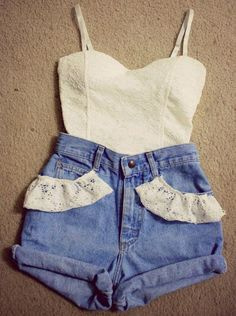 High Waisted shorts and Bustiers for a sweet country summer look