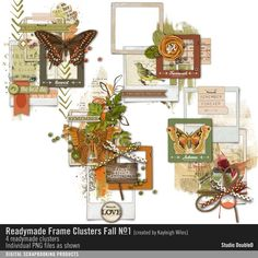 Readymade Frame Clusters: Fall No. 01 element clusters with slide frames in vintage fall style for scrapbooking and cardmaking #designerdigitals