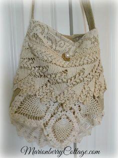 Vintage Gypsy Boho crochet and lace handbag