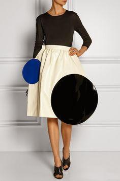 The Daily Frock: Junya Watanabe Color Block Giant Polka Dot Surreal Faux Leather Skirt  