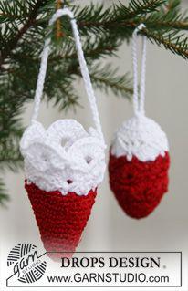 """Virkatut DROPS joulukäpy ja joulutötterö """"Cotton Viscose""""- ja """"Glitter"""" -langoista. ~ DROPS Design"""