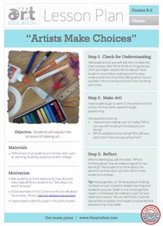 Artists Make Choices: Free Lesson Plan Download