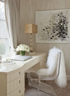 Gorgeous Office with White Desk and Acrylic Chair - Click this picture to see the rest of this amazing home!