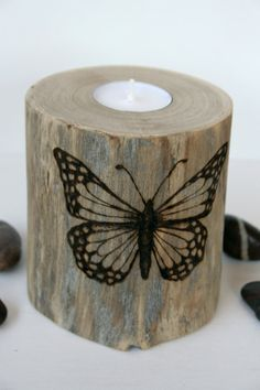 Driftwood Butterfly Tealight Holder - Woodburning. $26.00, via Etsy.