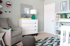 Modern Gray Nursery with Green Accents