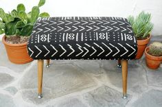 ON HOLD- Mid Century Mudcloth Footstool Tapered Legs Black & White African Mudcloth Fabric Mid Century Footstool Mud cloth Foot Stool Ottoma