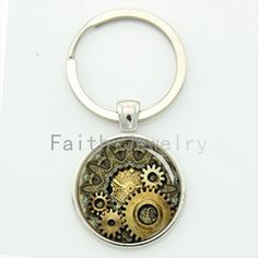 Steam punk clock gear key chain vintage striped luxurious watch gears keychain steampunk movement mens jewelry gift KC609