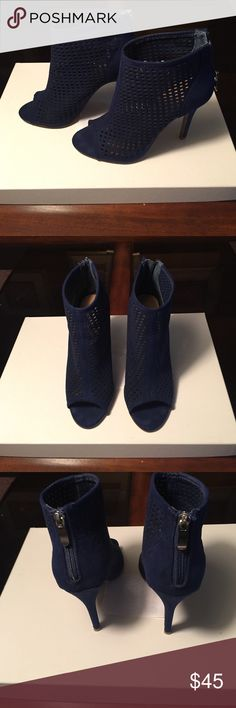 Chinese Laundry Blue Suede Open Toe Shoe Booties Blue suede ankle boots that zip up the back. Open toe perforated suede. Great w/jeans, pants, or skirts!  3 inch heel so easy to walk in. Worn twice. Like new condition. Chinese Laundry Shoes Ankle Boots & Booties