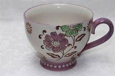 Coastline Imports Dutch Wax Floral Jumbo Coffee Cup Mugs - Purple/Green - S/2